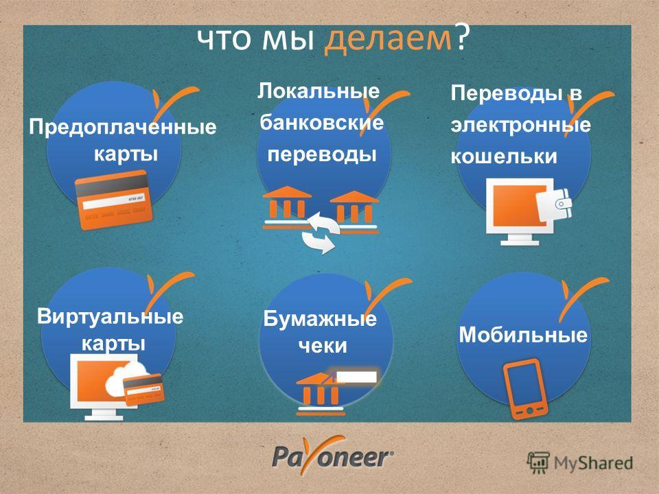 Мобильные Локальные банковские переводы Переводы в электронные кошельки Виртуальные карты что мы делаем? Бумажные чеки Предоплаченные карты