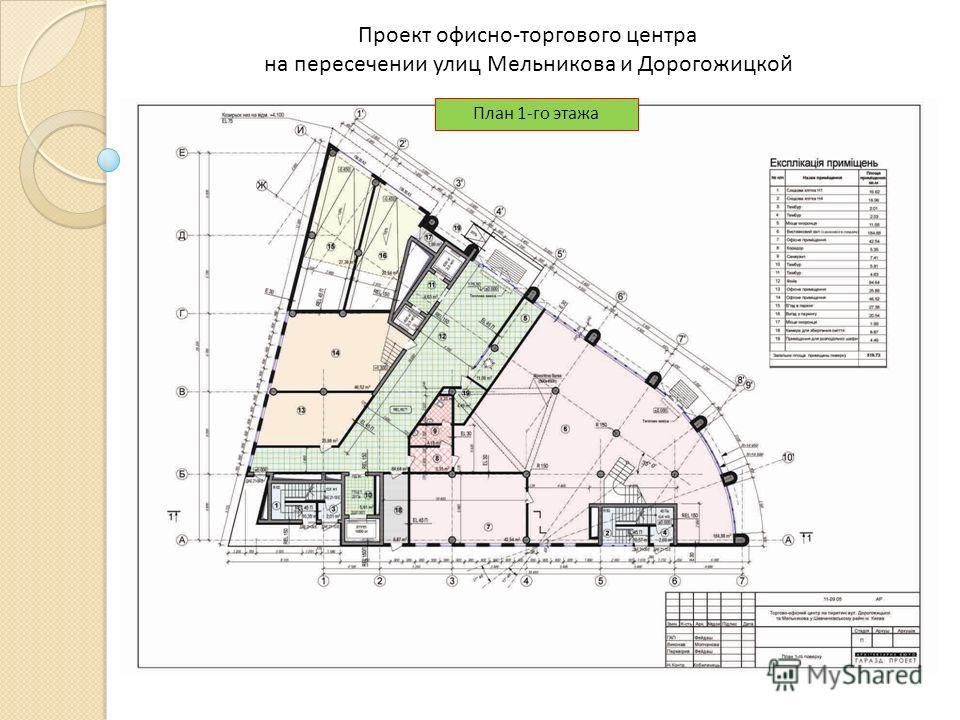 Проект офисно-торгового центра на пересечении улиц Мельникова и Дорогожицкой План 1-го этажа