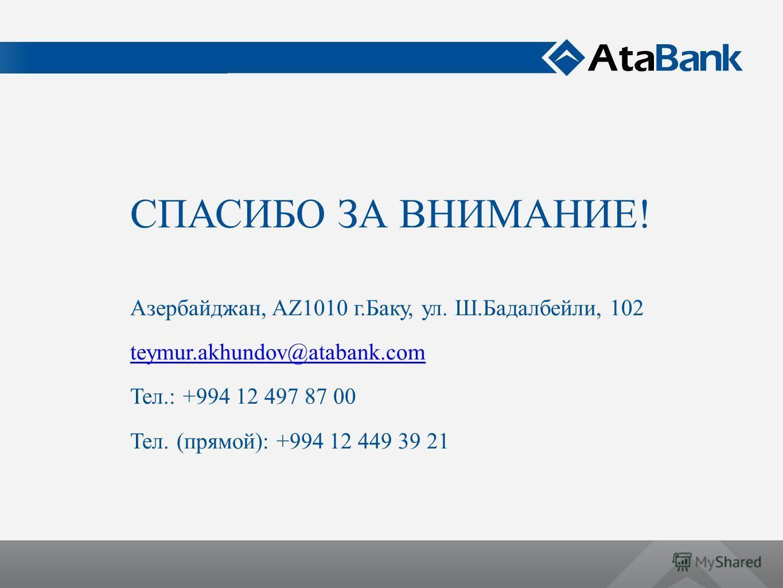 СПАСИБО ЗА ВНИМАНИЕ! Азербайджан, AZ1010 г.Баку, ул. Ш.Бадалбейли, 102 teymur.akhundov@atabank.com Тел.: +994 12 497 87 00 Тел. (прямой): +994 12 449 39 21