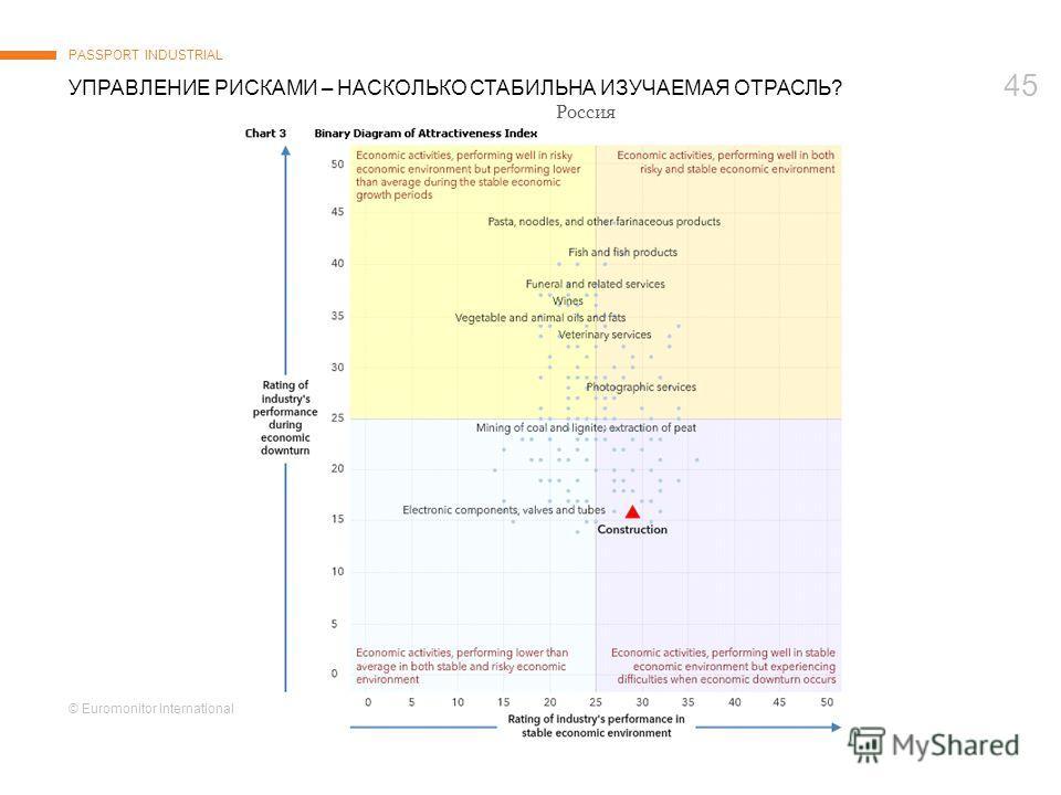 © Euromonitor International 45 УПРАВЛЕНИЕ РИСКАМИ – НАСКОЛЬКО СТАБИЛЬНА ИЗУЧАЕМАЯ ОТРАСЛЬ? PASSPORT INDUSTRIAL Россия