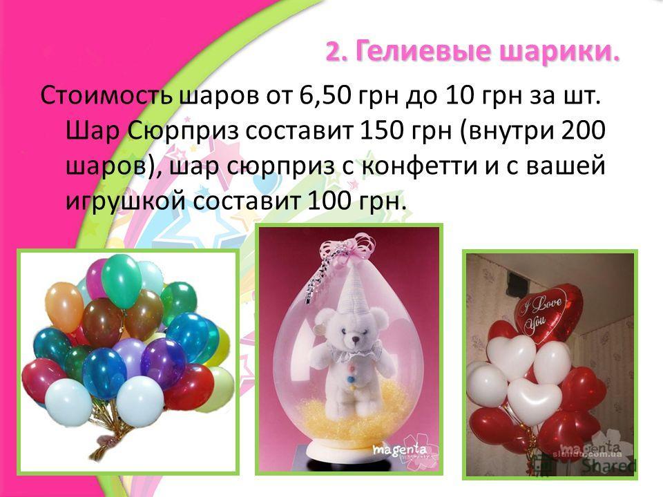 2. Гелиевые шарики. Стоимость шаров от 6,50 грн до 10 грн за шт. Шар Сюрприз составит 150 грн (внутри 200 шаров), шар сюрприз с конфетти и с вашей игрушкой составит 100 грн.