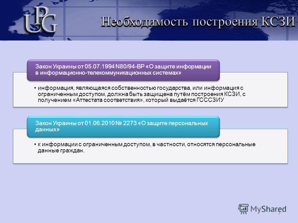 3 информация, являющаяся собственностью государства, или информация с ограниченным доступом, должна быть защищена путём построения КСЗИ, с получением «Аттестата соответствия», который выдаётся ГСССЗИУ Закон Украины от 05.07.1994 N80/94-ВР «О защите и