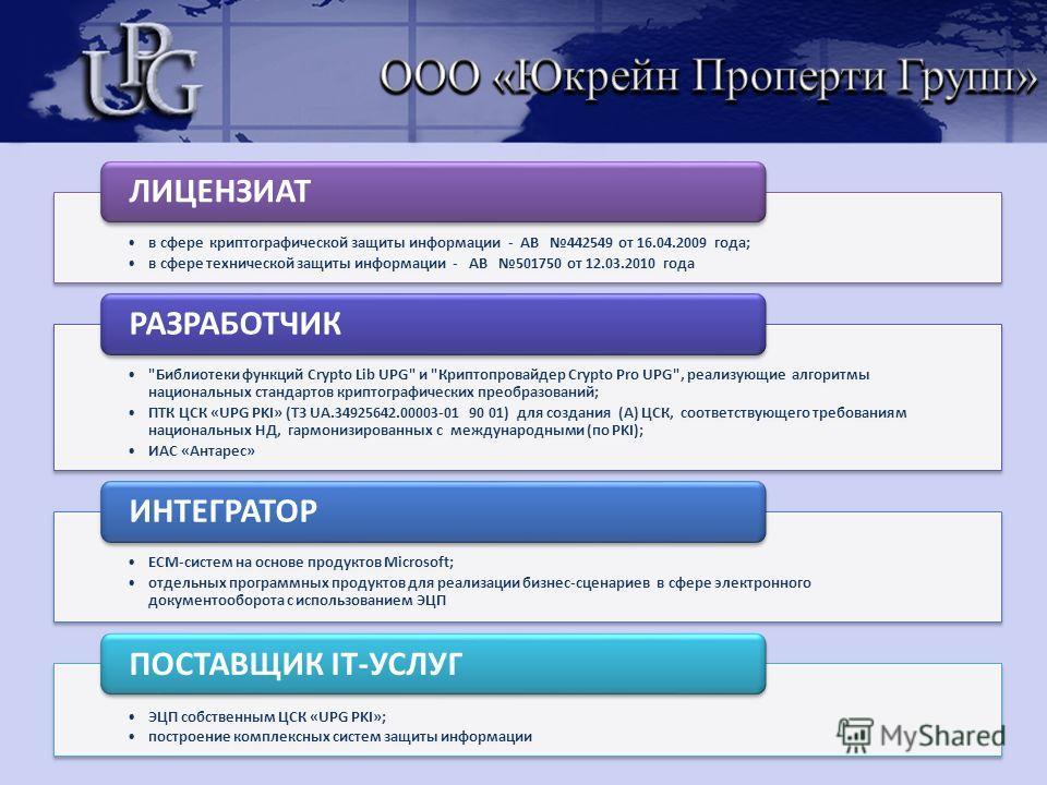 в сфере криптографической защиты информации - АВ 442549 от 16.04.2009 года; в сфере технической защиты информации - АВ 501750 от 12.03.2010 года ЛИЦЕНЗИАТ