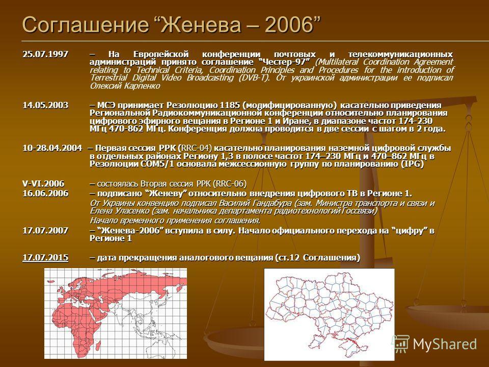Соглашение Женева – 2006 25.07.1997 – На Европейской конференции почтовых и телекоммуникационных администраций принято соглашение Честер-97 ( 25.07.1997 – На Европейской конференции почтовых и телекоммуникационных администраций принято соглашение Чес