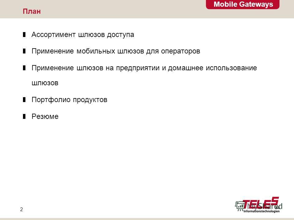 Mobile Gateways 2 План Ассортимент шлюзов доступа Применение мобильных шлюзов для операторов Применение шлюзов на предприятии и домашнее использование шлюзов Портфолио продуктов Резюме