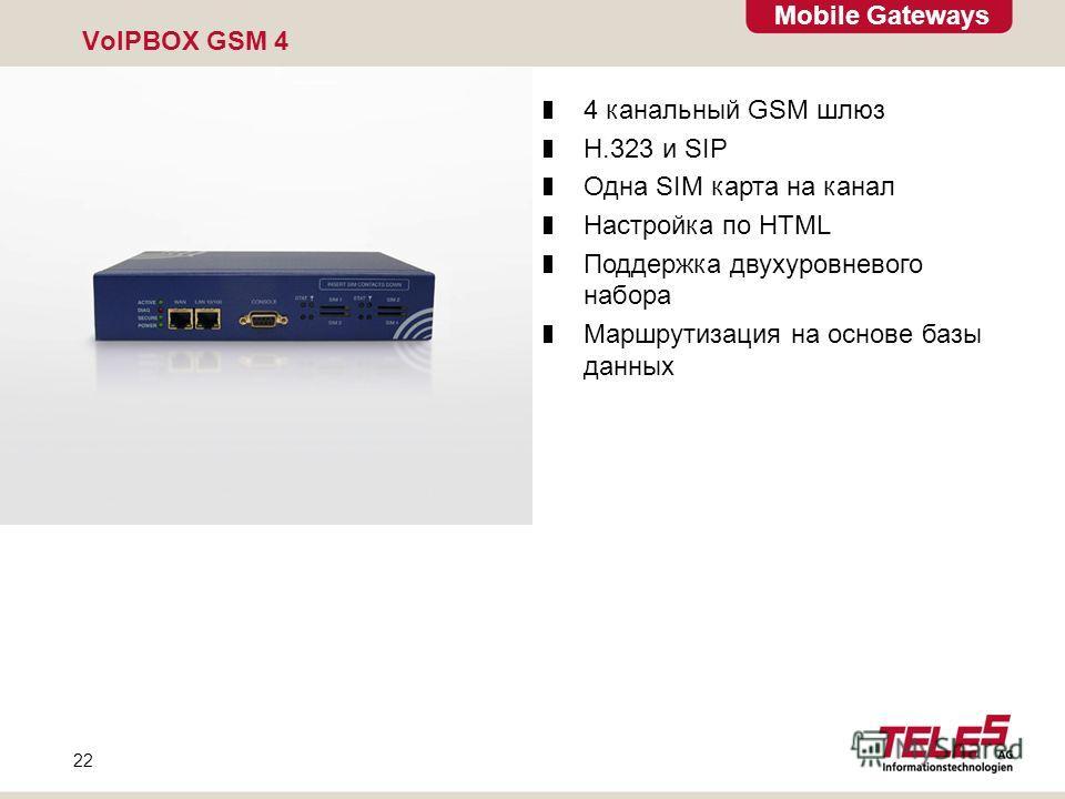 Mobile Gateways 22 VoIPBOX GSM 4 4 канальный GSM шлюз H.323 и SIP Одна SIM карта на канал Настройка по HTML Поддержка двухуровневого набора Маршрутизация на основе базы данных