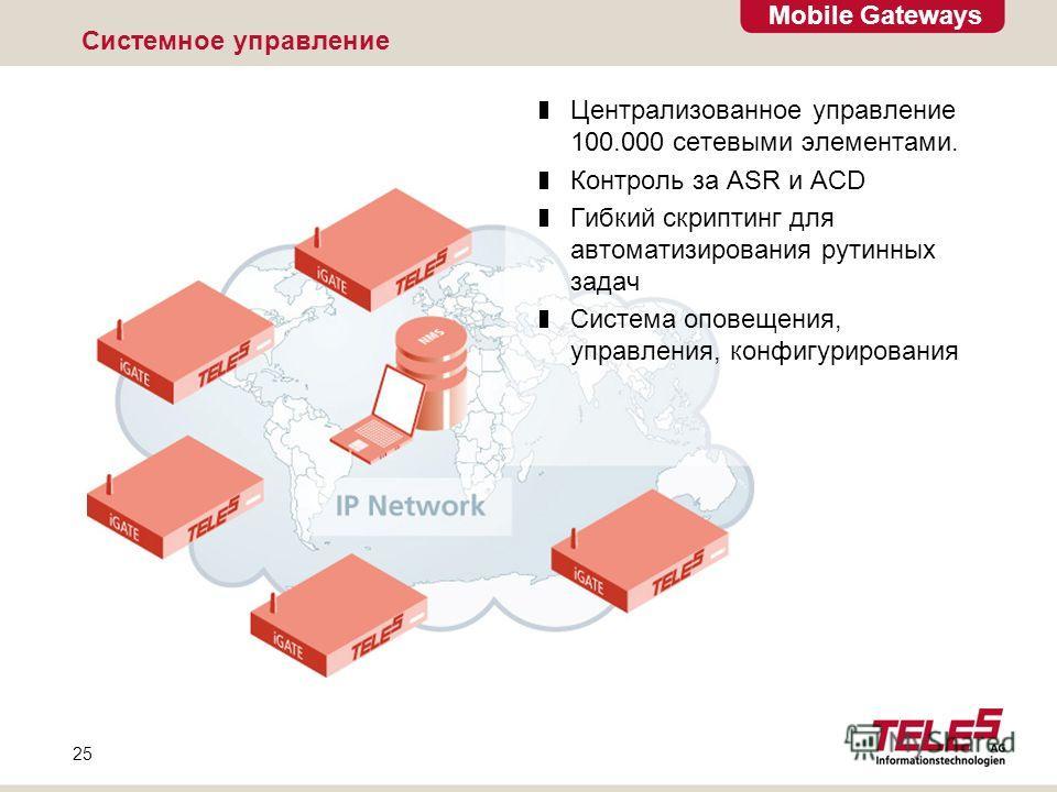 Mobile Gateways 25 Системное управление Централизованное управление 100.000 сетевыми элементами. Контроль за ASR и ACD Гибкий скриптинг для автоматизирования рутинных задач Система оповещения, управления, конфигурирования
