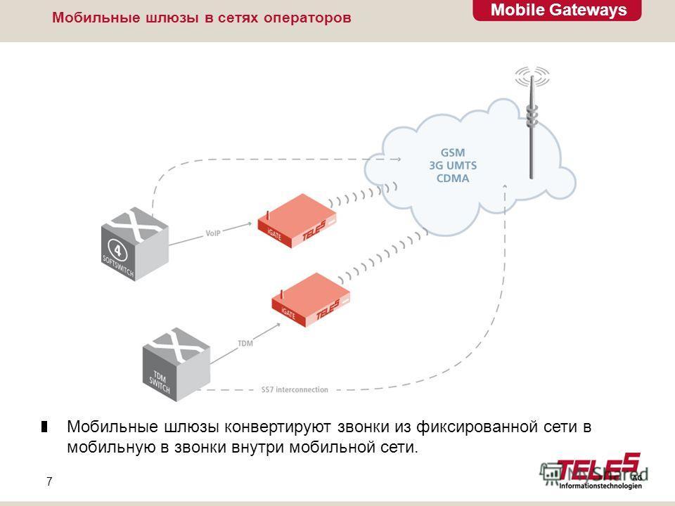 Mobile Gateways 7 Мобильные шлюзы в сетях операторов Мобильные шлюзы конвертируют звонки из фиксированной сети в мобильную в звонки внутри мобильной сети.