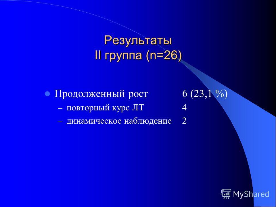 Результаты II группа (n=26) Продолженный рост6 (23,1 %) – повторный курс ЛТ4 – динамическое наблюдение2