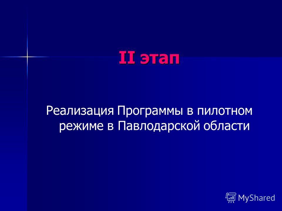 II этап Реализация Программы в пилотном режиме в Павлодарской области