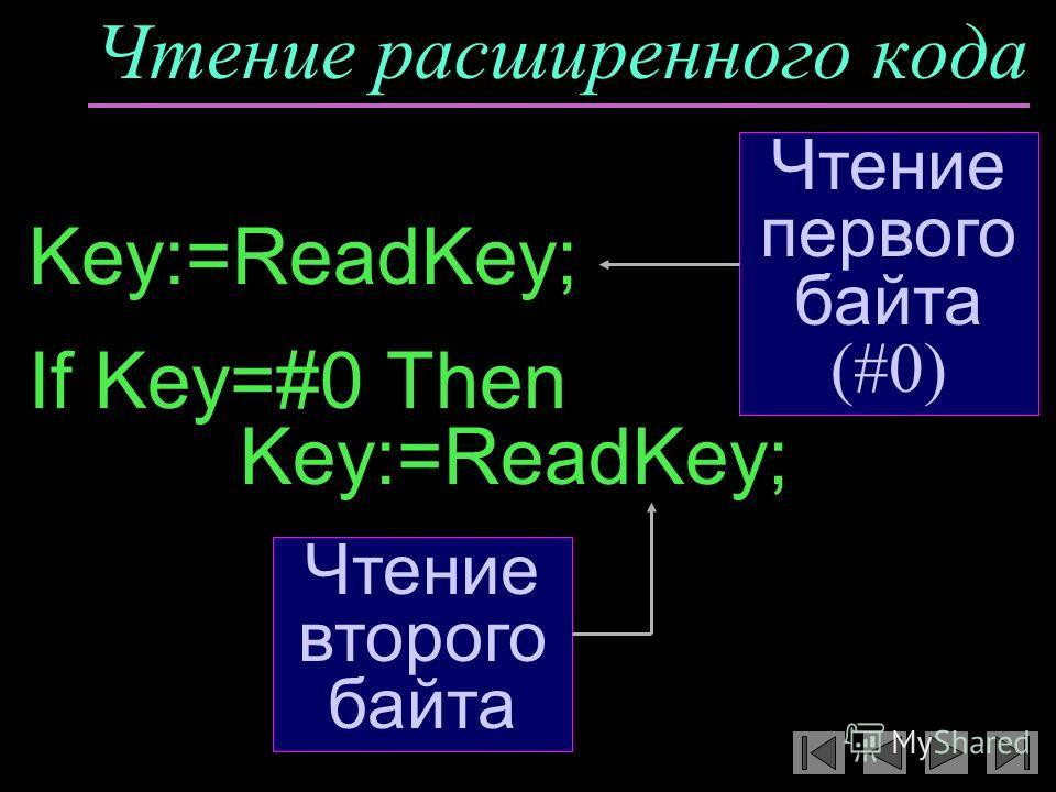 Чтение расширенного кода Key:=ReadKey; If Key=#0 Then Key:=ReadKey; Чтение первого байта (#0) Чтение второго байта