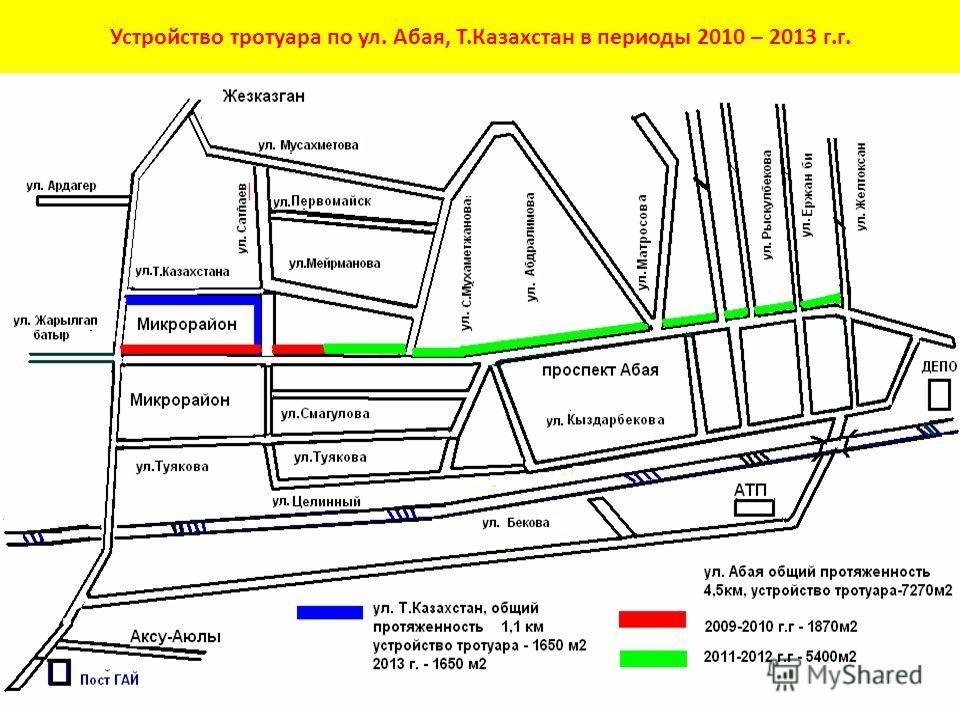 Устройство тротуара по ул. Абая, Т.Казахстан в периоды 2010 – 2013 г.г.