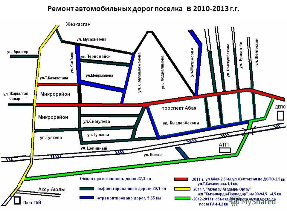 Ремонт автомобильных дорог поселка в 2010-2013 г.г.
