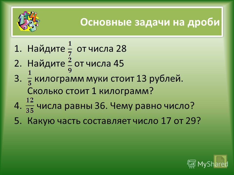 Основные задачи на дроби 1.Найдите от числа 28 2.Найдите от числа 45 3. килограмм муки стоит 13 рублей. Сколько стоит 1 килограмм? 4. числа равны 36. Чему равно число? 5.Какую часть составляет число 17 от 29?