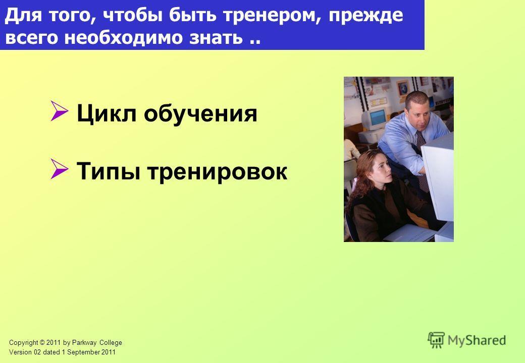 Copyright © 2011 by Parkway College Version 02 dated 1 September 2011 Для того, чтобы быть тренером, прежде всего необходимо знать.. Цикл обучения Типы тренировок