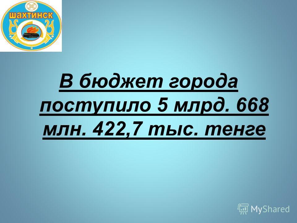 В бюджет города поступило 5 млрд. 668 млн. 422,7 тыс. тенге