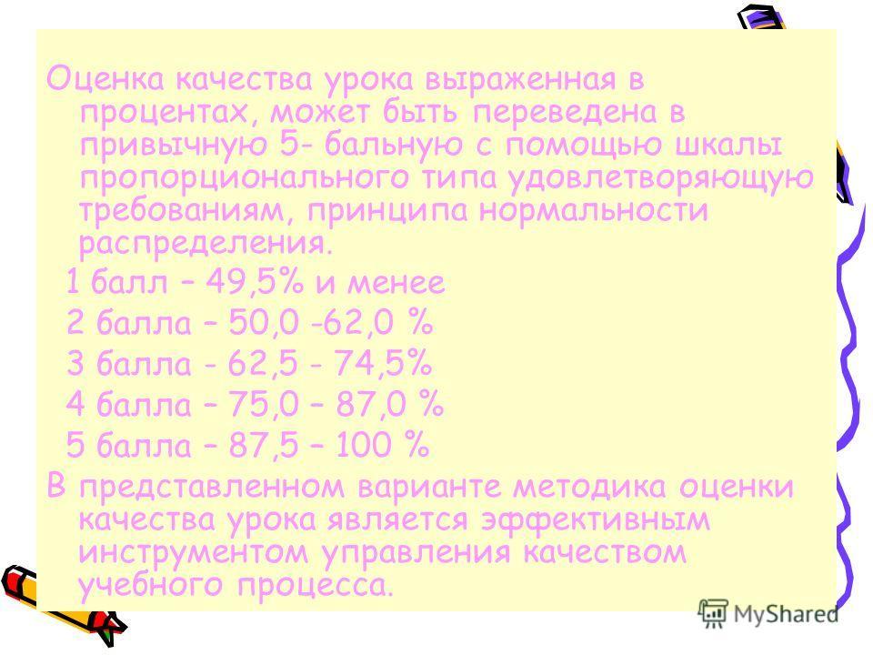 Оценка качества урока выраженная в процентах, может быть переведена в привычную 5- бальную с помощью шкалы пропорционального типа удовлетворяющую требованиям, принципа нормальности распределения. 1 балл – 49,5% и менее 2 балла – 50,0 -62,0 % 3 балла