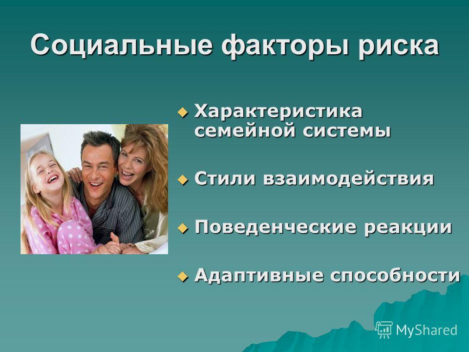 Социальные факторы риска Характеристика семейной системы Характеристика семейной системы Стили взаимодействия Стили взаимодействия Поведенческие реакции Поведенческие реакции Адаптивные способности Адаптивные способности