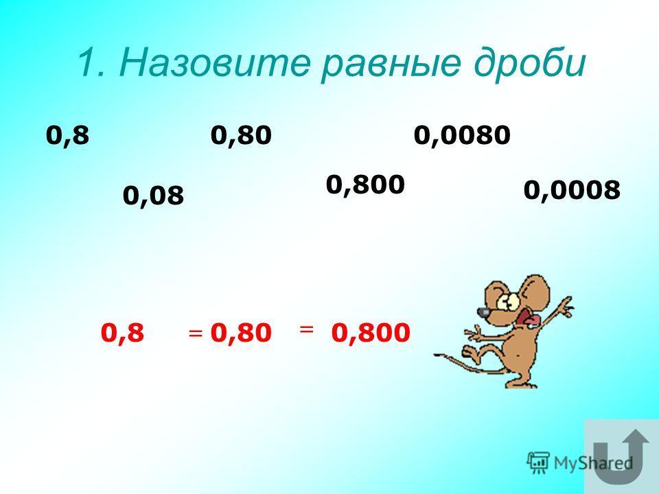 1. Назовите равные дроби 0,0008 0,00800,80 0,800 0,08 0,8 0,8 0,800,800 = =