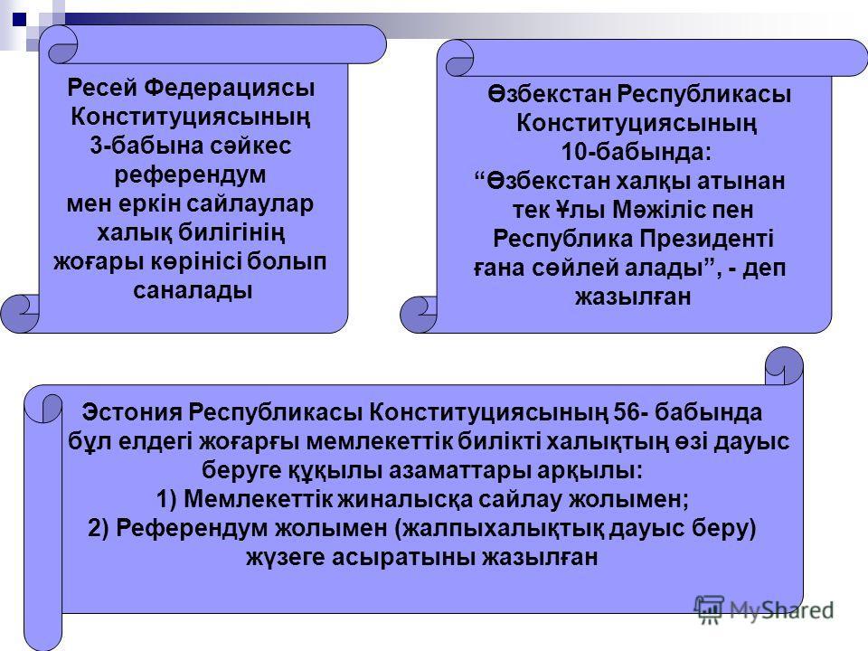 Ресей Федерациясы Конституциясының 3-бабына сәйкес референдум мен еркін сайлаулар халық билігінің жоғары көрінісі болып саналады Өзбекстан Республикасы Конституциясының 10-бабында: Өзбекстан халқы атынан тек Ұлы Мәжіліс пен Республика Президенті ғана