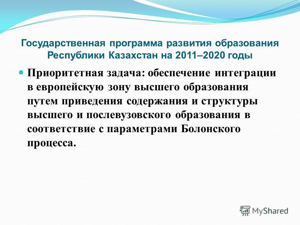 Государственная программа развития образования Республики Казахстан на 2011–2020 годы Приоритетная задача : обеспечение интеграции в европейскую зону высшего образования путем приведения содержания и структуры высшего и послевузовского образования в