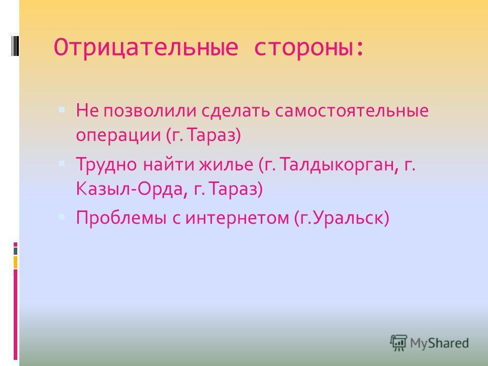 Отрицательные стороны: Не позволили сделать самостоятельные операции (г. Тараз) Трудно найти жилье (г. Талдыкорган, г. Казыл-Орда, г. Тараз) Проблемы с интернетом (г.Уральск)