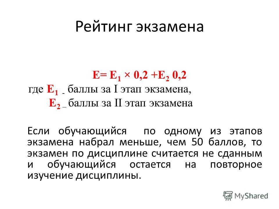 Рейтинг экзамена E= Е 1 × 0,2 +Е 2 0,2 где Е 1 - баллы за I этап экзамена, Е 2 – баллы за II этап экзамена Если обучающийся по одному из этапов экзамена набрал меньше, чем 50 баллов, то экзамен по дисциплине считается не сданным и обучающийся остаетс
