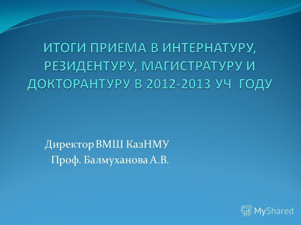 Директор ВМШ КазНМУ Проф. Балмуханова А.В.