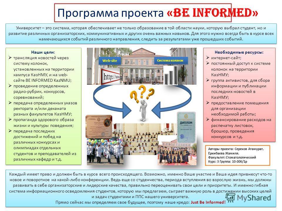 Система колонок Web-site Программа проекта « Be informed » Университет – это система, которая обеспечивает не только образование в той области науки, которую выбрал студент, но и развитие различных организаторских, коммуникативных и других очень важн