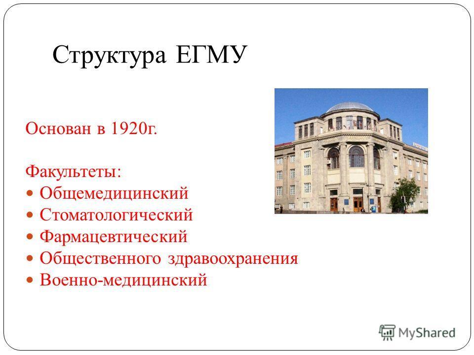 Структура ЕГМУ Основан в 1920г. Факультеты: Общемедицинский Стоматологический Фармацевтический Общественного здравоохранения Военно-медицинский