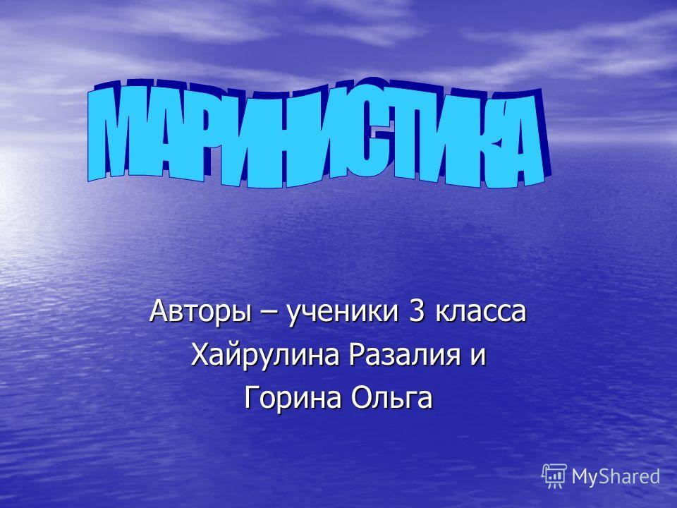 Авторы – ученики 3 класса Хайрулина Разалия и Горина Ольга