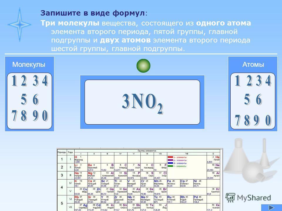 Запишите в виде формул: Три молекулы вещества, состоящего из одного атома элемента второго периода, пятой группы, главной подгруппы и двух атомов элемента второго периода шестой группы, главной подгруппы. АтомыМолекулы