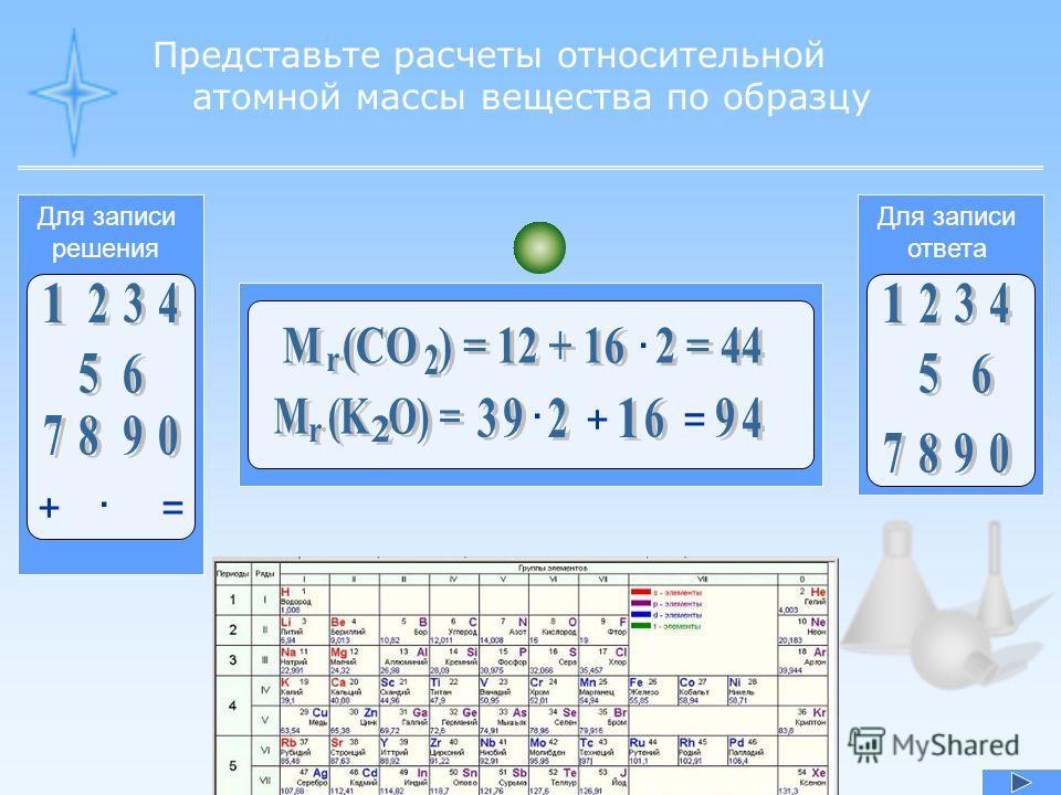 Представьте расчеты относительной атомной массы вещества по образцу Для записи ответа Для записи решения + · = · + · =