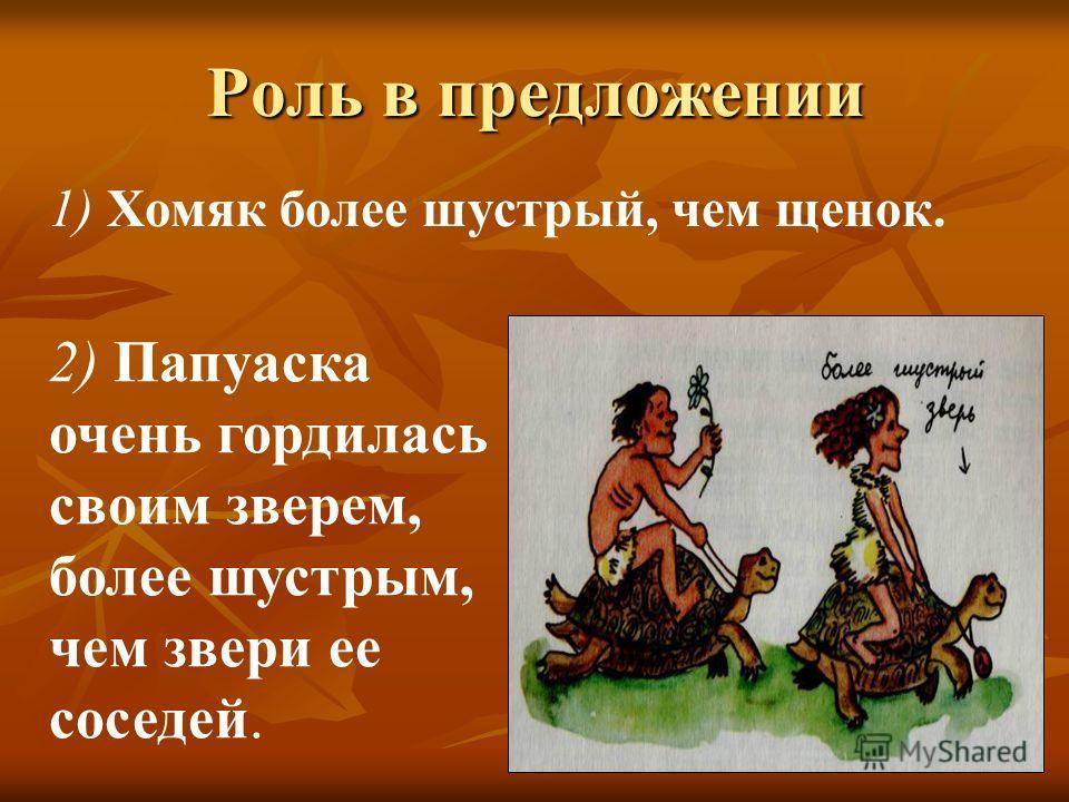 Роль в предложении 1) Хомяк более шустрый, чем щенок. 2) Папуаска очень гордилась своим зверем, более шустрым, чем звери ее соседей.