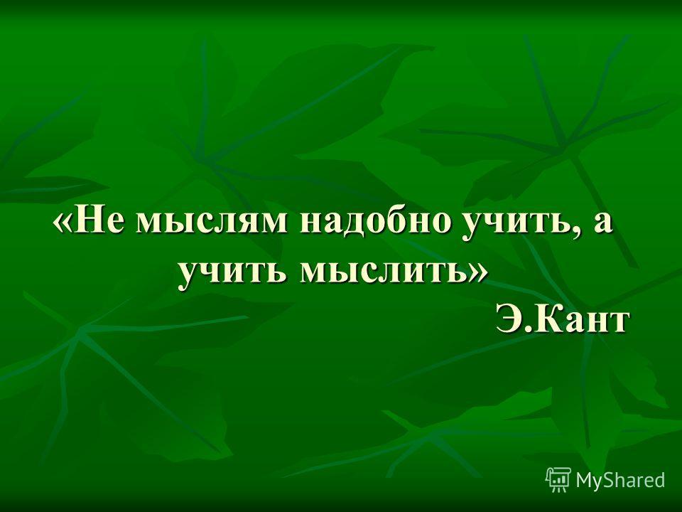 «Не мыслям надобно учить, а учить мыслить» Э.Кант