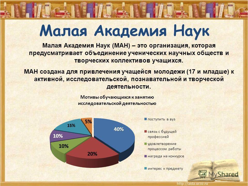 Малая Академия Наук Малая Академия Наук (МАН) – это организация, которая предусматривает объединение ученических научных обществ и творческих коллективов учащихся. МАН создана для привлечения учащейся молодежи (17 и младше) к активной, исследовательс