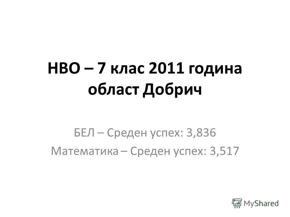НВО – 7 клас 2011 година област Добрич БЕЛ – Среден успех: 3,836 Математика – Среден успех: 3,517