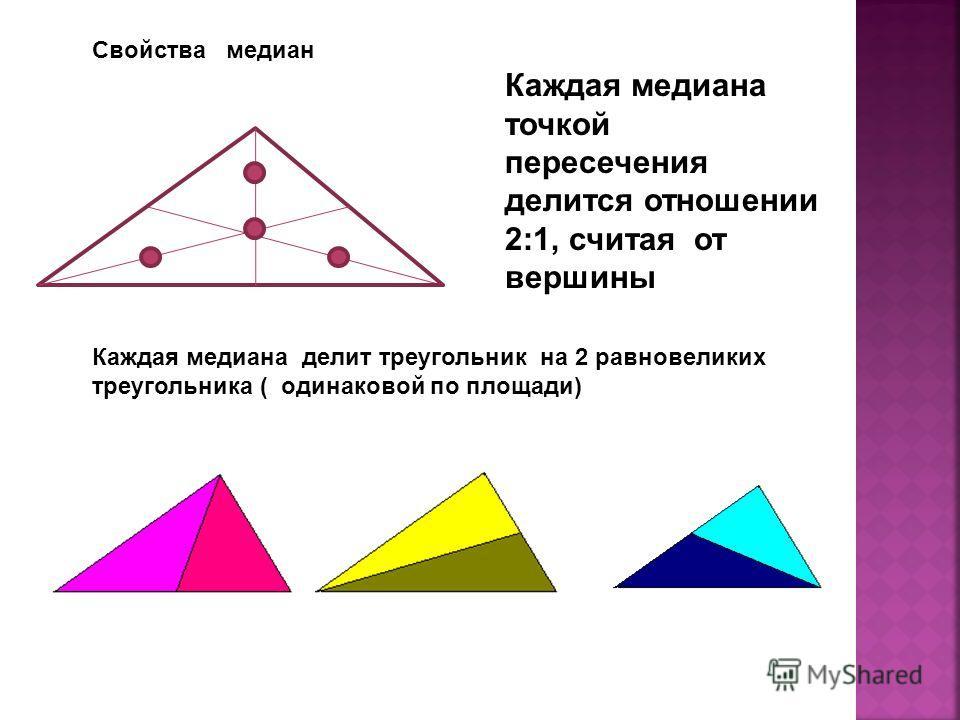 Свойства медиан Каждая медиана точкой пересечения делится отношении 2:1, считая от вершины Каждая медиана делит треугольник на 2 равновеликих треугольника ( одинаковой по площади)