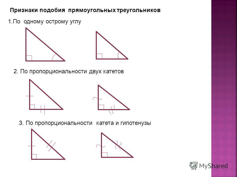 Признаки подобия прямоугольных треугольников 1.По одному острому углу 2. По пропорциональности двух катетов 3. По пропорциональности катета и гипотенузы