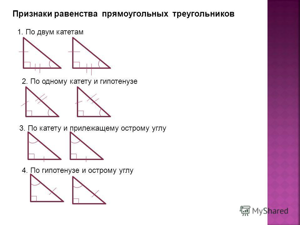 Признаки равенства прямоугольных треугольников 1. По двум катетам 2. По одному катету и гипотенузе 3. По катету и прилежащему острому углу 4. По гипотенузе и острому углу