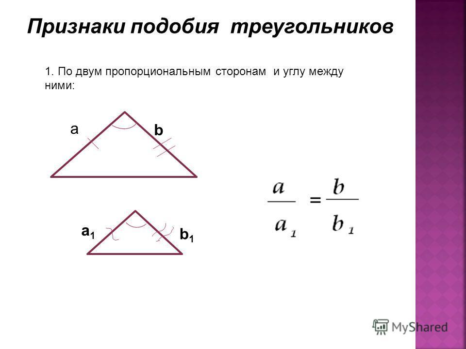 Признаки подобия треугольников 1. По двум пропорциональным сторонам и углу между ними: a b a1a1 b1b1