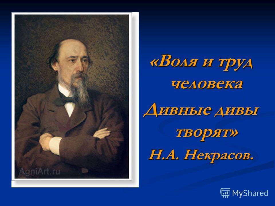 «Воля и труд человека Дивные дивы творят» Н.А. Некрасов.