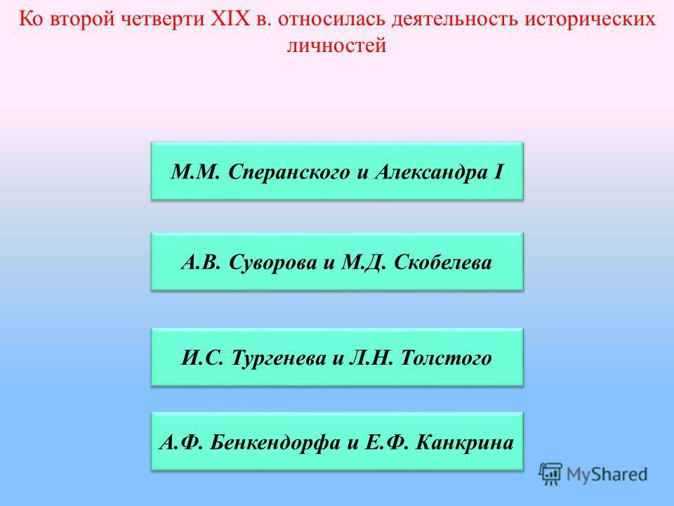Ко второй четверти XIX в. относилась деятельность исторических личностей М.М. Сперанского и Александра I А.В. Суворова и М.Д. Скобелева И.С. Тургенева и Л.Н. Толстого А.Ф. Бенкендорфа и Е.Ф. Канкрина