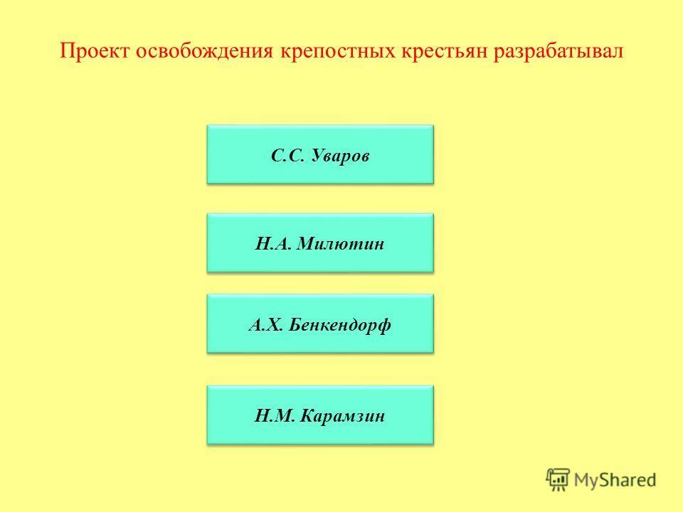 Проект освобождения крепостных крестьян разрабатывал С.С. Уваров Н.А. Милютин А.Х. Бенкендорф Н.М. Карамзин