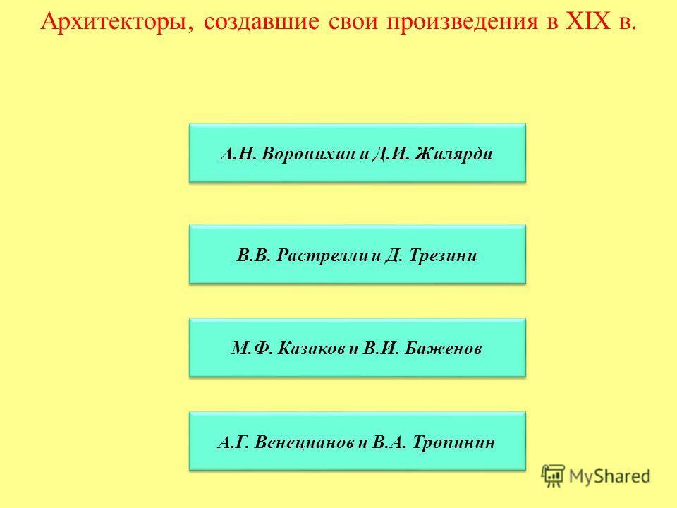 Архитекторы, создавшие свои произведения в XIX в. А.Н. Воронихин и Д.И. Жилярди В.В. Растрелли и Д. Трезини М.Ф. Казаков и В.И. Баженов А.Г. Венецианов и В.А. Тропинин