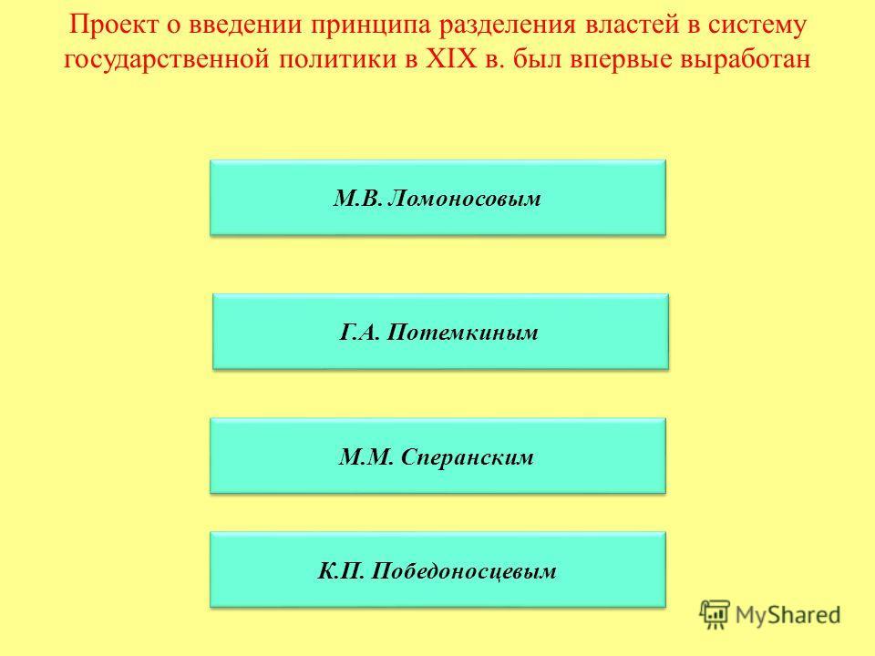 Проект о введении принципа разделения властей в систему государственной политики в XIX в. был впервые выработан М.В. Ломоносовым Г.А. Потемкиным М.М. Сперанским К.П. Победоносцевым