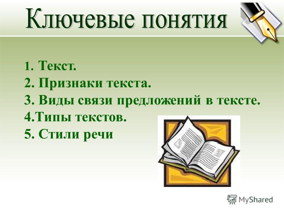1. Текст. 2. Признаки текста. 3. Виды связи предложений в тексте. 4.Типы текстов. 5. Стили речи
