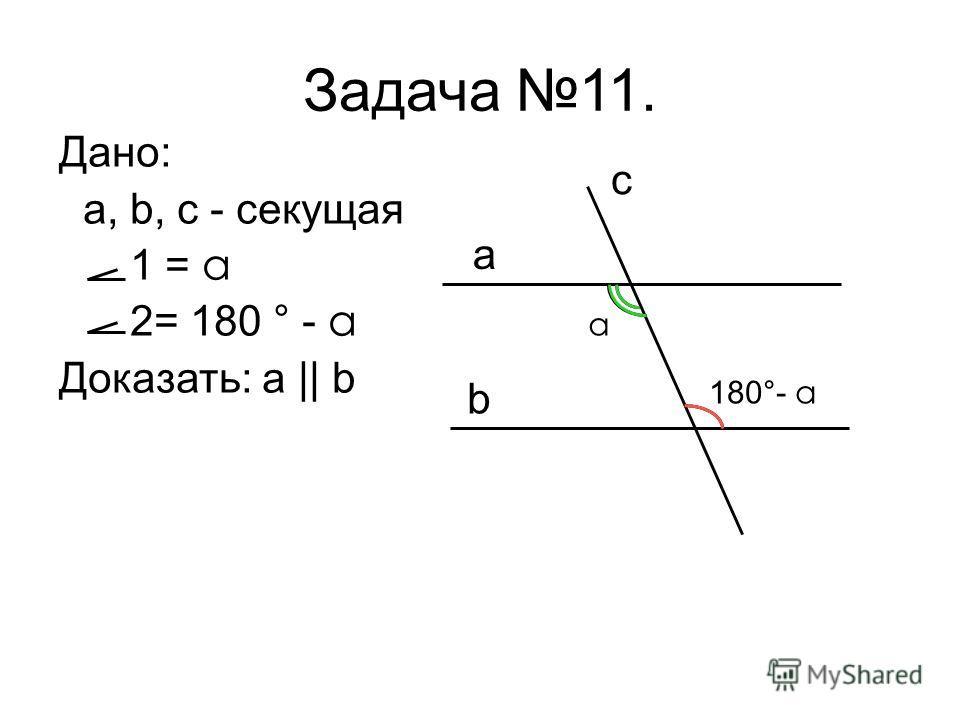 Дано: a, b, c - секущая 1 = a 2= 180 ° - a Доказать: a || b Задача 11. a b c a 180°- a