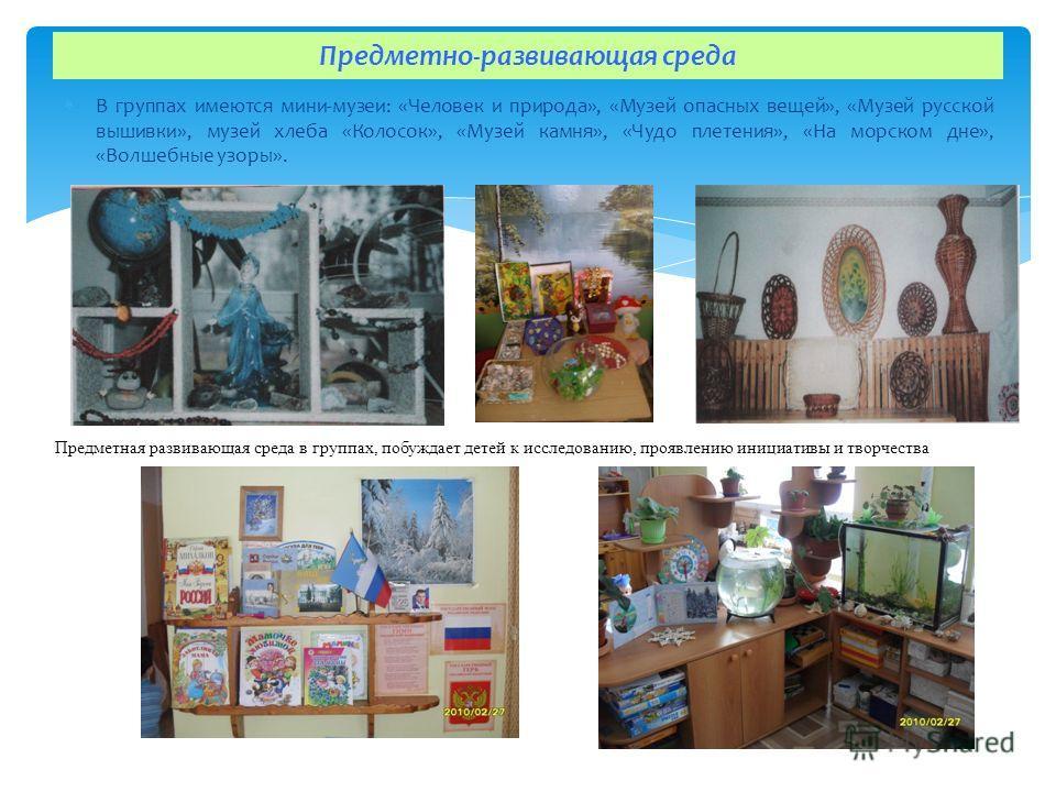 В группах имеются мини-музеи: «Человек и природа», «Музей опасных вещей», «Музей русской вышивки», музей хлеба «Колосок», «Музей камня», «Чудо плетения», «На морском дне», «Волшебные узоры». Предметно-развивающая среда Предметная развивающая среда в