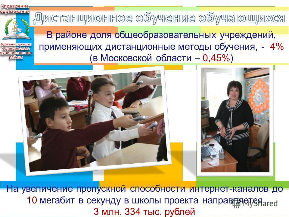 10 В районе доля общеобразовательных учреждений, применяющих дистанционные методы обучения, - 4% (в Московской области – 0,45%) На увеличение пропускной способности интернет-каналов до 10 мегабит в секунду в школы проекта направляется 3 млн. 334 тыс.